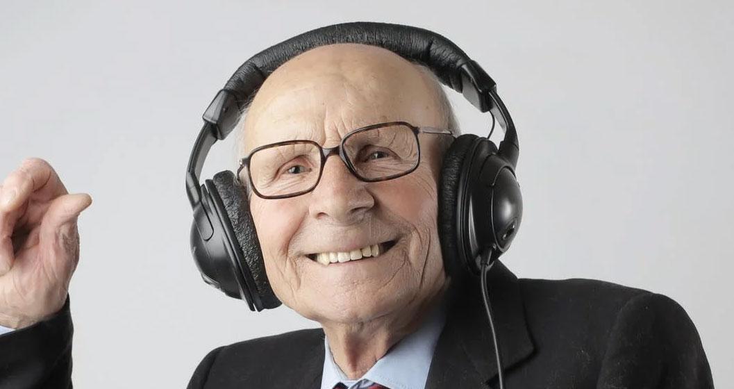 Man wearing headphones enjoying his listening