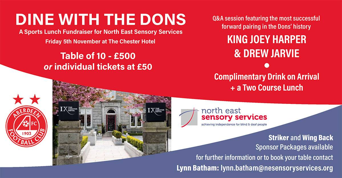 Poster says Dine with the Dons at the Chester Hotel 5th November